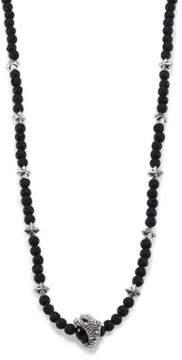 King Baby Studio Lava Rock & Black Onyx Raven Claw Beaded Necklace
