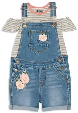 Hudson Girls' Striped Cold-Shoulder Tee & Rose-Patch Overalls Set - Baby