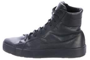 Jil Sander Leather High-Top Sneakers