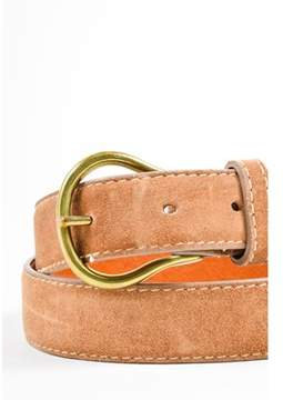 Calvin Klein Pre-owned Light Brown Suede Leather Contrast Stitch Buckle Belt Sz L.