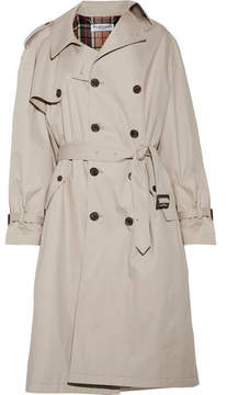 Balenciaga Pulled Oversized Cotton-twill Trench Coat - Beige
