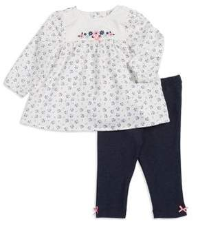 Little Me Baby Girls Two-Piece Flower Cotton Top and Leggings Set
