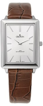 Croton Men's Stainless Steel Watch with Brown Leather Band