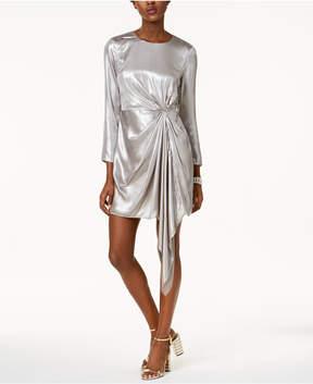 Bardot Draped Metallic Asymmetrical Dress