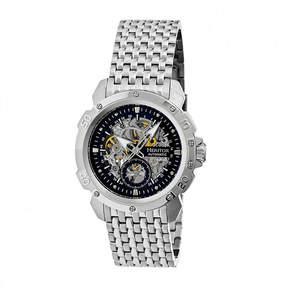 Heritor Automatic Carter Mens Skeleton Dial Bracelet Watch-Silver Tone/Black Watch