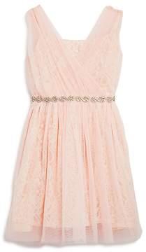 Us Angels Girls' Embellished Mesh & Lace Dress - Big Kid