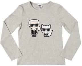 Karl Lagerfeld & Choupette Cotton Jersey T-Shirt