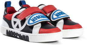 Moschino Red and Black Peace Sign and Logo Velcro Trainers