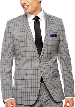 Asstd National Brand Nick Graham Grey Windowpane Slim Jacket