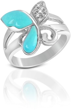 Del Gatto Diamond and Turquoise Butterfly 18K Gold Ring