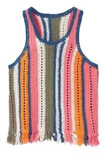 MANGO Crochet striped top