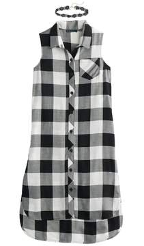 My Michelle Girls 7-16 Buffalo Checkered High-Low Shirtdress with Choker Necklace