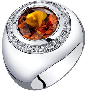 Ice Men's 6 CT TW Lab-Created Sapphire Sterling Silver Signet Halo Ring with CZ Accents