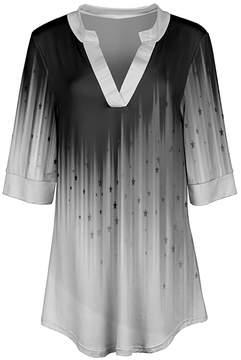 Azalea Black & White Ombre V-Neck Tunic - Women & Plus
