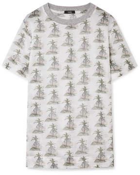 Bassike Printed Cotton-gauze T-shirt - White