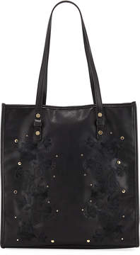 Neiman Marcus Flora Embroidered Tall Tote Bag