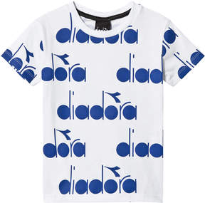 Diadora White with Blue All Over Branded T-Shirt