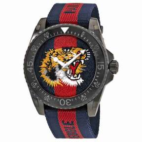Gucci Dive Tiger Embroidered Dial Men's Watch YA136215