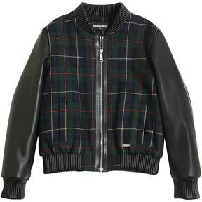 DSQUARED2 Faux Leather & Plaid Bomber Jacket