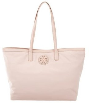 Tory Burch Leather-Trimmed Nylon Tote - NEUTRALS - STYLE