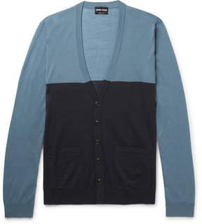 Giorgio Armani Slim-Fit Two-Tone Wool Cardigan