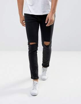 MANGO Man Ripped Skinny Jeans With Zip Hem In Black