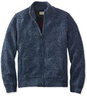 L.L. Bean L.L.Bean Classic Ragg Wool Sweater, Full-Zip Flannel-Lined