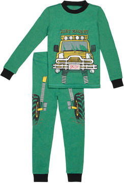 Petit Lem Boy's Dirt Magnet Two-Piece Pajama Set, Green, Size 12-24 Months