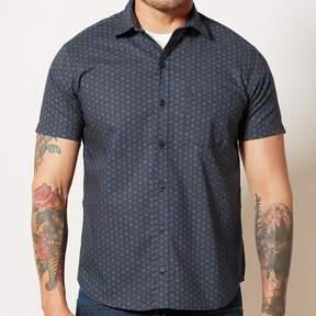 Blade + Blue Navy Japanese Geometric Floral Print Shirt - MICHAEL