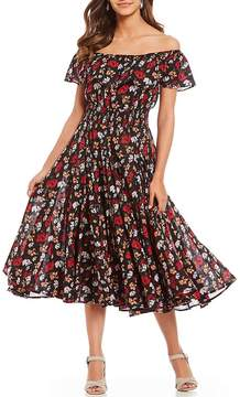 Chelsea & Theodore Off-The-Shoulder Ruffle Floral Print Veranda Print Midi Dress