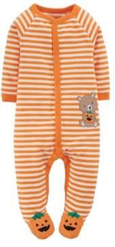 Carter's Infant Boy Halloween Sleeper Striped Orange Pumpkin Bear Sleep Play 3m