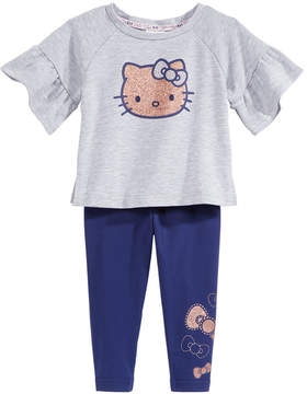 Hello Kitty 2-Pc. Flounce-Sleeve Top & Leggings Set, Baby Girls