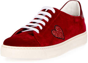 Anya Hindmarch Velvet Glitter Heart Sneakers, Red