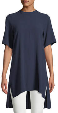 Eileen Fisher Silk Georgette High-Neck Long Tunic