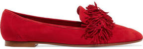 Aquazzura Wild Fringed Suede Loafers - Red