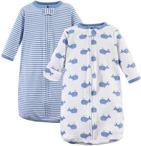 Hudson Baby Blue Whales Long-Sleeve Sleeping Bag Set - Newborn