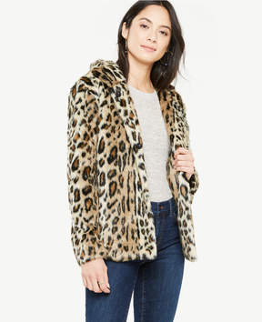 Ann Taylor Leopard Faux Fur Hooded Jacket