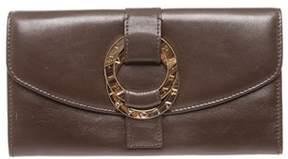 Bvlgari Dark Brown Leather Snap Closure Long Wallet.