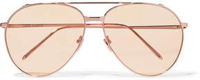 Linda Farrow Aviator-style Rose Gold-plated Sunglasses - Pink
