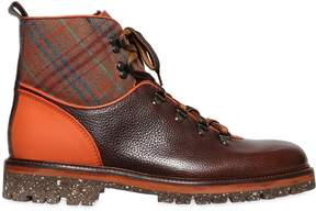 Etro Plaid & Leather Hiking Boots