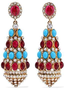 Kenneth Jay Lane Gold-Tone Stone And Crystal Clip Earrings
