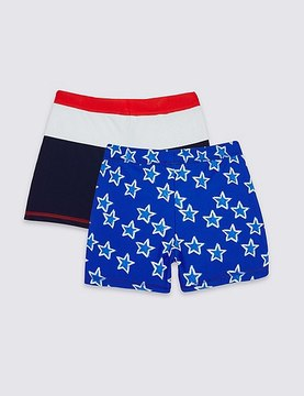 Marks and Spencer 2 Pack Assorted Swim Shorts (0-8 Years)