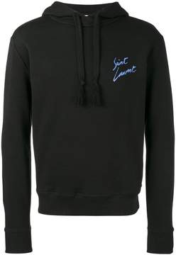 Saint Laurent Black signature print hoodie