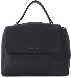 Orciani Black Tumbled Leather Handbag