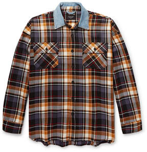 Fear Of God Oversized Denim-Trimmed Checked Wool Overshirt