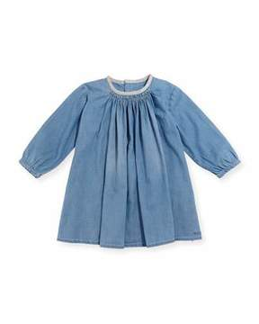 Chloé Long-Sleeve Light Denim Dress, Size 2-3
