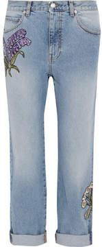 Alexander McQueen Floral-embroidered Boyfriend Jeans - Light denim