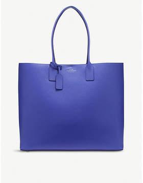 Smythson Blue Panama Cross Grain Leather East West Tote Bag