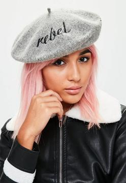 Missguided Grey Graphic Rebel Beret