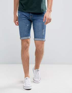 New Look Skinny Fit Denim Shorts With Abrasions In Mid Wash